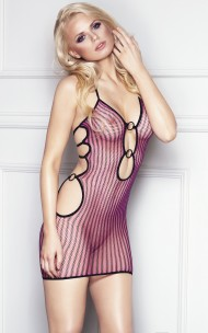7heaven - Coco Provocerande Svart / Rosa Randiga Fishnet Dress