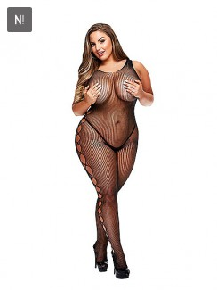 Baci - Open Side Sleeveless Bodystocking Queen Size