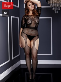 Baci - Crotchless Suspender Bodystocking Queen Size