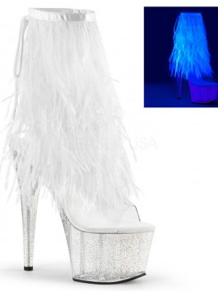 Pleaser - ADORE-1017MFF Marabou Fur Fringe Ankle Boot