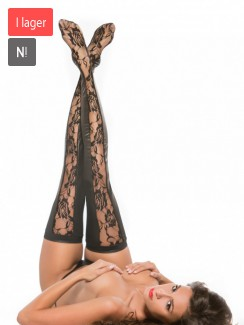 Kitten by Allure Lingerie - 7-2602K Lace And Wet Look Tights