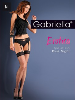 Gabriella - Erotica Blue Night Garter Belt & Stockings