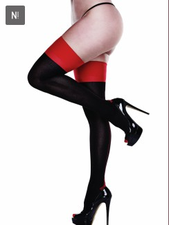 Baci - Black Opaque Red Cuban Heel Thigh Highs