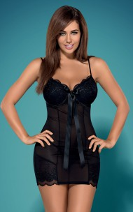 Obsessive - Kisselent Chemise Push-up Nattlinne Set