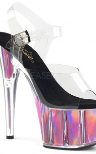 Pleaser - ADORE-708HGI PF Ankle Strap Sandal w/ Hologram Inserts